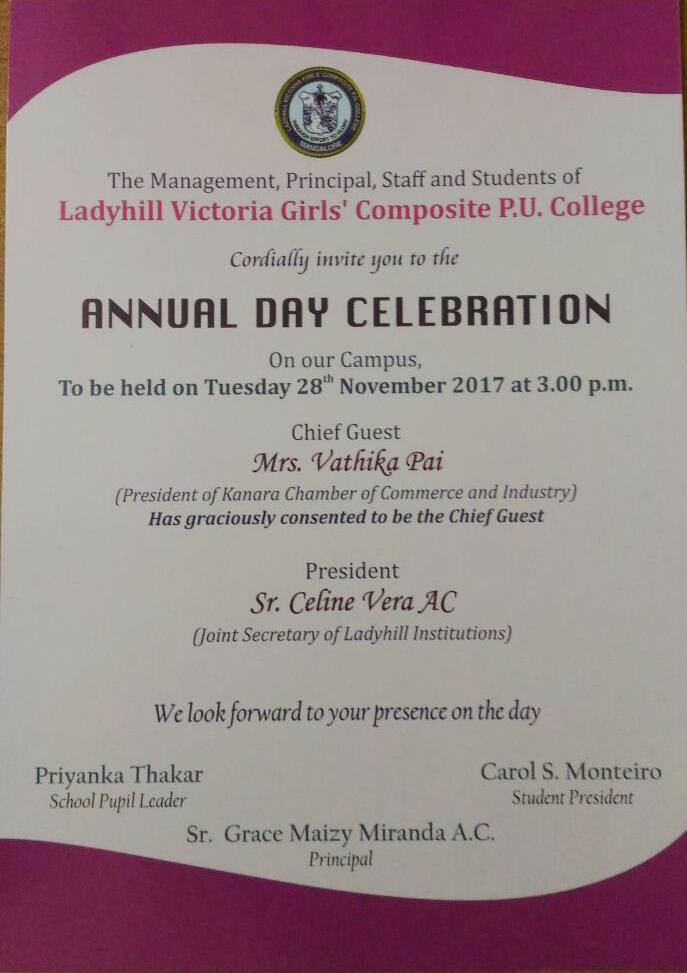 invitation  annual day celebration - 2017